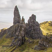 Storr on Skye.  Attribution: Reduced from author Nono vlf - CC licence 4.0: https://creativecommons.org/licenses/by-sa/4.0/deed.en Source: https://commons.wikimedia.org/wiki/File:Old_Man_of_Storr.jpg